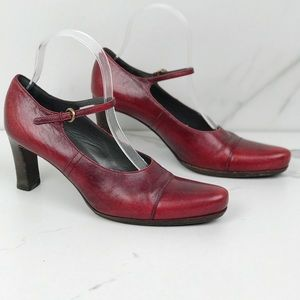 Miu Miu Red Mary Jane Clog Heels Lagenlook Boho